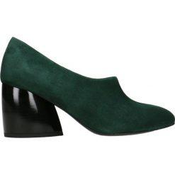 Czółenka LENA. Zielone buty ślubne damskie Gino Rossi, w geometryczne wzory, ze lnu. Za 399,90 zł.