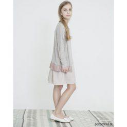 Swetry dziewczęce: TESS FRILL kardigan dla dziewczynki szaro-różowy