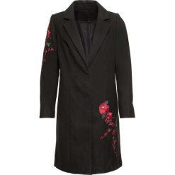 Płaszcz z haftem bonprix czarny. Czarne płaszcze damskie bonprix, z haftami. Za 139,99 zł.