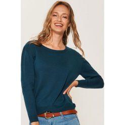 Sweter z asymetrycznym dołem - Khaki. Brązowe swetry klasyczne damskie marki House, l, z asymetrycznym kołnierzem. Za 59,99 zł.