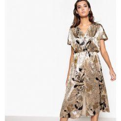 Długie sukienki: Welurowa sukienka w kwiatki, z rozcięciami