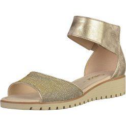 Sandały damskie: Skórzane sandały w kolorze złotym