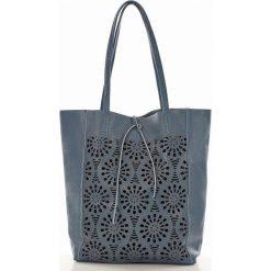 Shopper bag damskie: Modny shopper na ramię skórzany AMELIA jeans ażur