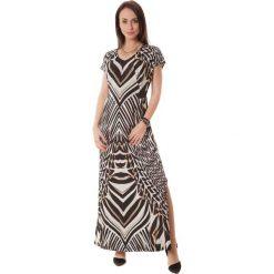 Sukienki hiszpanki: Sukienka w kolorze brązowo-czarno-ecru