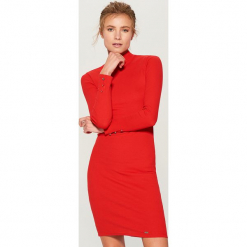 Sukienka mini z długimi rękawami - Czerwony. Czerwone sukienki mini marki numoco, na ślub cywilny, l, z elastanu, eleganckie, z klasycznym kołnierzykiem. Za 79,99 zł.