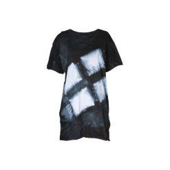 Ręcznie farbowany t-shirt SHIBORI. Czarne t-shirty damskie Pikiel, l, z bawełny, z kapturem. Za 150,00 zł.