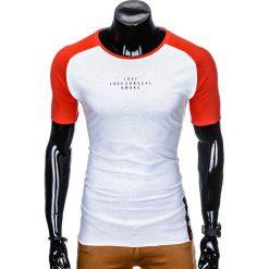 T-SHIRT MĘSKI Z NADRUKIEM S926 - BIAŁY/CZERWONY. Białe t-shirty męskie z nadrukiem marki Ombre Clothing, m. Za 29,00 zł.