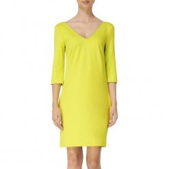 Sukienka w kolorze limonkowym. Żółte sukienki mini marki BOHOBOCO, proste. W wyprzedaży za 639,95 zł.