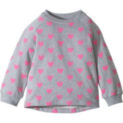 Bluzy dziewczęce rozpinane: Bluza z nadrukiem bonprix jasnoszary melanż- różowy flaming