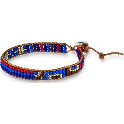 Bransoletki damskie: Skórzana bransoletka z perłami w kolorze brązowym