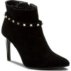 Botki NEŚCIOR - 092-R Czarny Zamsz. Czarne buty zimowe damskie Neścior, z materiału, na obcasie. W wyprzedaży za 259,00 zł.