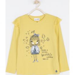 Koszulka. Żółte bluzki dziewczęce bawełniane SPARKLE, z aplikacjami, z falbankami, z długim rękawem. Za 49,90 zł.