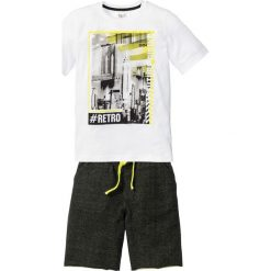 Spodnie dziewczęce: Shirt + bermudy dresowe (2 części) bonprix biało-czarny z nadrukiem