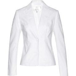 Żakiet lniany bonprix biały. Białe marynarki i żakiety damskie bonprix, ze lnu. Za 149,99 zł.