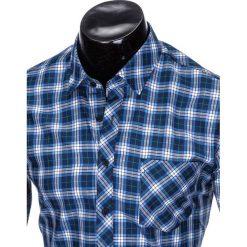 KOSZULA MĘSKA W KRATĘ Z DŁUGIM RĘKAWEM K415 - GRANATOWA/BŁĘKITNA. Brązowe koszule męskie na spinki marki Ombre Clothing, m, z aplikacjami, z kontrastowym kołnierzykiem, z długim rękawem. Za 39,00 zł.