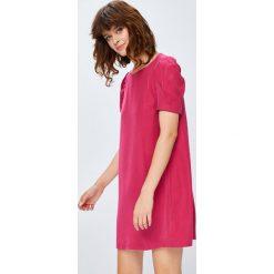 Medicine - Sukienka 2_Secret Garden. Szare sukienki mini MEDICINE, na co dzień, l, z lyocellu, casualowe, z okrągłym kołnierzem, z krótkim rękawem. W wyprzedaży za 69,90 zł.