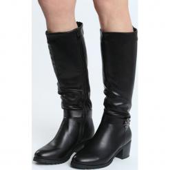 Czarne Kozaki Reft. Czarne buty zimowe damskie marki Born2be, ze skóry, na wysokim obcasie, na słupku. Za 189,99 zł.
