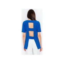 Bluzka M440 Niebieski. Szare bluzki damskie marki FIGL, m, z bawełny, eleganckie, z asymetrycznym kołnierzem, z długim rękawem. Za 129,00 zł.