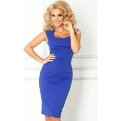 Joanna Dopasowana sukienka - chabrowa. Niebieskie sukienki balowe numoco, s, z materiału, dopasowane. Za 149,99 zł.