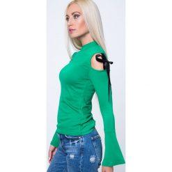 Bluzki asymetryczne: Bluzka z wiązaniami na ramionach zielona MP16206