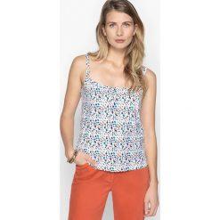 Bluzki asymetryczne: Wzorzysta koszulka na cienkich ramiączkach