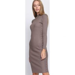 Khaki Sukienka Young Night. Brązowe sukienki dzianinowe Born2be, na jesień, l. Za 79,99 zł.