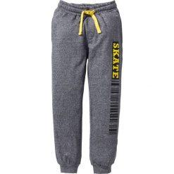 Spodnie dresowe z nadrukiem bonprix antracytowy melanż. Szare dresy chłopięce bonprix, melanż, z dresówki. Za 32,99 zł.