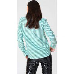 Rut&Circle Koszula w paski Ina - Green,Multicolor. Zielone paski damskie Rut&Circle, w paski, z bawełny, z okrągłym kołnierzem. Za 121,95 zł.