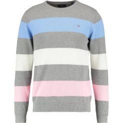 GANT BARSTRIPE CREW Sweter grey melange. Niebieskie kardigany męskie marki GANT. Za 589,00 zł.