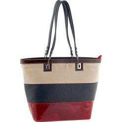 Torebki klasyczne damskie: Skórzana torebka w kolorze beżowo-granatowo-czerwonym – 40 x 30 x 15 cm