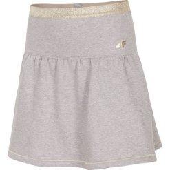 Spódniczki dziewczęce z falbankami: Spódniczka dresowa dla małych dziewczynek JSPUD100 - jasny szary melanż