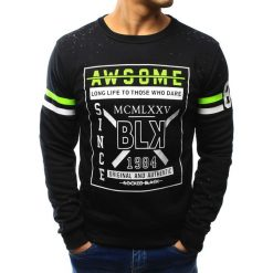 Bluzy męskie: Bluza męska bez kaptura z nadrukiem czarna (bx3097)