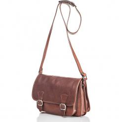 Skórzana torebka w kolorze brązowym - 26,5 x 19 x 8 cm. Brązowe torebki klasyczne damskie I MEDICI FIRENZE, w paski, z materiału. W wyprzedaży za 347,95 zł.