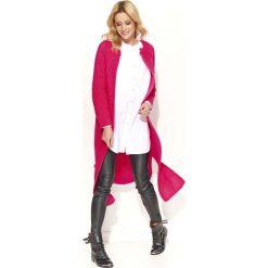 Amarantowy Długi Sweter-Płaszcz z Rozciętymi Bokami. Czerwone płaszcze damskie zimowe marki Cropp, l. Za 114,90 zł.