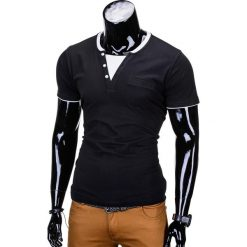 T-shirty męskie: T-SHIRT MĘSKI BEZ NADRUKU S679 – CZARNY