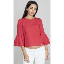 Czerwona Krótka Bluzka z Rozkloszowanymi Rękawami. Czerwone bluzki z odkrytymi ramionami Molly.pl, l, w jednolite wzory, z jeansu, biznesowe, z dekoltem na plecach, z krótkim rękawem. Za 125,90 zł.