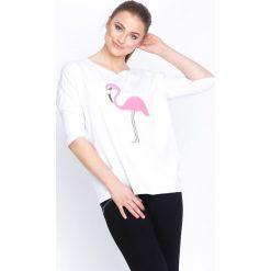 Biała Bluzka Shiny Flamingo. Białe bluzki longsleeves Born2be, l. Za 54,99 zł.