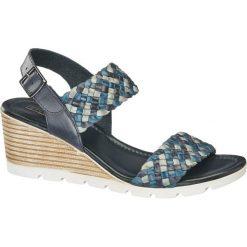 Sandały na koturnie 5th Avenue niebieskie. Niebieskie sandały damskie marki 5th Avenue, z materiału, na koturnie. Za 159,90 zł.