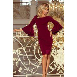 Kendra sukienka z hiszpańskimi rękawkami - BORDOWA. Czerwone sukienki na komunię numoco, s, z kołnierzem typu carmen, rozkloszowane. Za 149,99 zł.