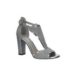 Rzymianki damskie: Sandały Karino  Szare sandały skórzane zabudowane na słupku  2563/021-P