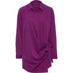 Bluzki damskie: Długa bluzka kopertowa bonprix fiołkowy lila