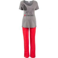 Piżamy damskie: Piżama dla ciężarnych (2 części) bonprix szary melanż – czerwony