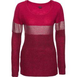 Swetry klasyczne damskie: Sweter z metalicznym nadrukiem bonprix czerwony klonowy – jeżynowo-srebrny