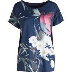 T-shirty damskie: Granatowy T-shirt Pink Butterfly