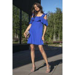 Chabrowa Wyjściowa Luźna Sukienka z Odkrytymi Ramionami. Niebieskie sukienki balowe marki Reserved, z odkrytymi ramionami. W wyprzedaży za 104,93 zł.