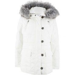 Kurtka pikowana z kapturem bonprix biel wełny. Białe kurtki damskie pikowane marki bonprix, z wełny, z kapturem. Za 239,99 zł.