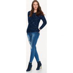 Swetry klasyczne damskie: SWETER DŁUGI RĘKAW DAMSKI, PUCHATY MELANŻOWY