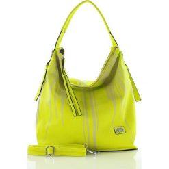 Wygodna torebka miejska limonka. Żółte shopper bag damskie FURRINI, w paski, ze skóry. Za 100,00 zł.