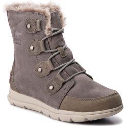 Śniegowce SOREL - Explorer Joan NL3039 Quarry/Black 052. Szare buty zimowe damskie Sorel, z gumy. Za 629,99 zł.