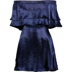 Sukienki: Missguided HAMMERED SATIN DOUBLE LAYER BARDOT SKATER Sukienka koktajlowa navy